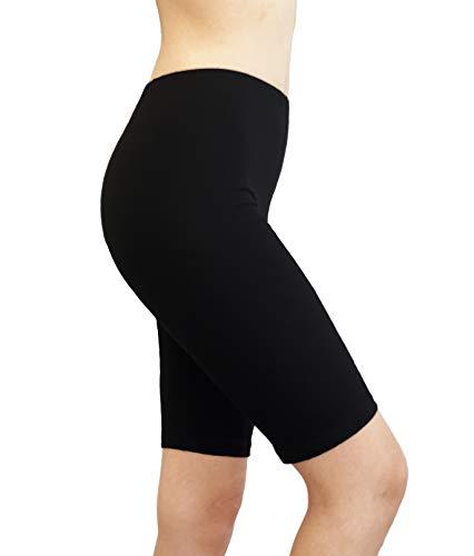 MC&LO Women Cotton Spandex Gym Yoga Knee Length Exercise Bike Shorts S-5XL Colors USA Black