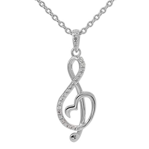 Hallmark Jewelry for Women Sterling Silver Treble Clef Music Note Pendant Necklace, 18' Chain