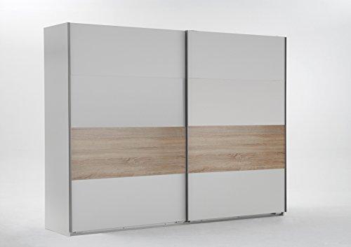 Wimex Kleiderschrank/ Schwebetürenschrank Bert, 2 Türen, (B/H/T) 225 x 210 x 65 cm, Weiß/ Absetzung Eiche Sägerau
