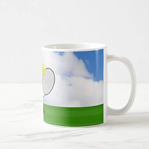 Divertida taza de café, pista de tenis y raquetas de tenis, taza de té, taza de café, taza de café, taza de café, taza de café de 325 ml, regalo para mujeres y hombres