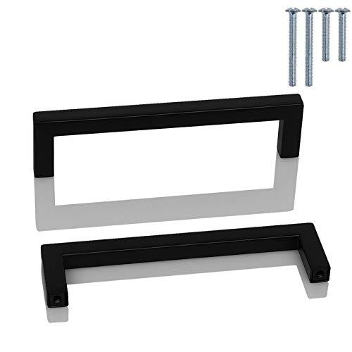 Probrico 20 pezzi nero quadrato da cucina porta dell' armadio maniglie T bar manopole in acciaio INOX 9 dimensioni (50mm 64mm 76mm 96mm 128mm 160mm 192mm 224mm 256mm)