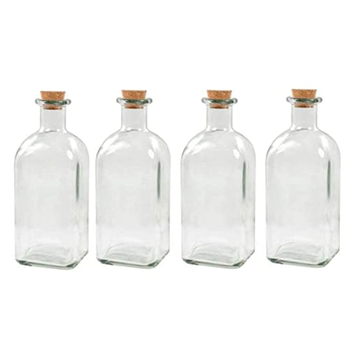 Pack de 4 botellas de cristal con tapón de corcho, recargable, con diseño tradicional, capacidad 1 litro, licores, vino, aguardiente