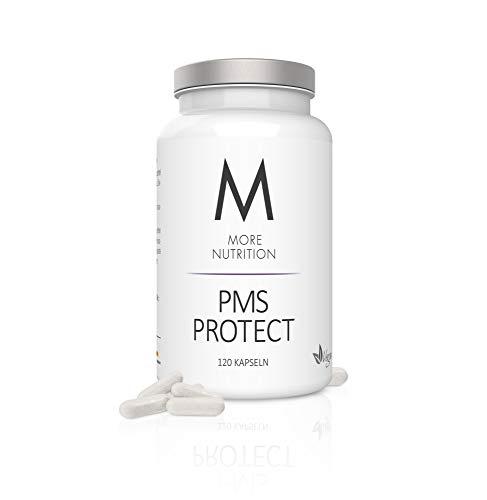 MORE NUTRITION PMS Protect (1 x 120 Kapseln) - Frauen-Vitamin mit Mönchspfeffer-Extrakt, Eisen, Magnesium und Zink gegen Regelbeschwerden Vegan