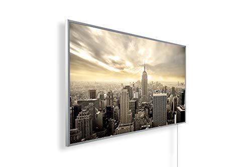 Könighaus Fern Infrarotheizung - Bildheizung in HD Qualität mit TÜV/GS - 200+ Bilder – mit Smart Home Thermostat, steuerbar mit APP für Handy- 1000 Watt (152. New York Vogelperspektive)