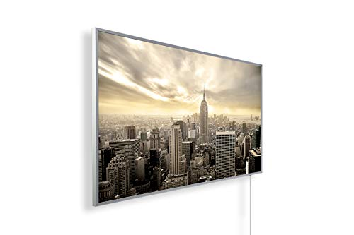 Bildheizung Infrarotheizung mit Digitalthermostat-5 Jahre Herstellergarantie - - Heizt nach dem Prinzip der Sonne(New York aus Vogelperspektive,1000)