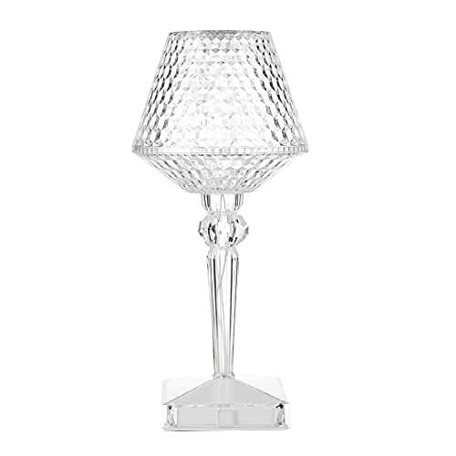 Crystal Diamond Table Lamp, Acrylic Atmosphere Light Night Light USB Touch LED Light Desktop Decor Copa de vino tinto USB Plug In Acrílico Key Lámpara de mesa de proyección Lámpara de mesita de noche