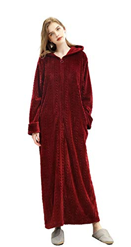 Soojun Women's Plush Soft Warm Hooded Zip Front Robes, WineRed, Large/X-Large