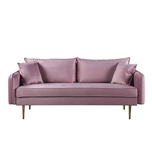 YXACETX Honeypot Sofa-Sofa, Stoff, Ecksofa, 3-Sitzer, Fußhocker, Pink