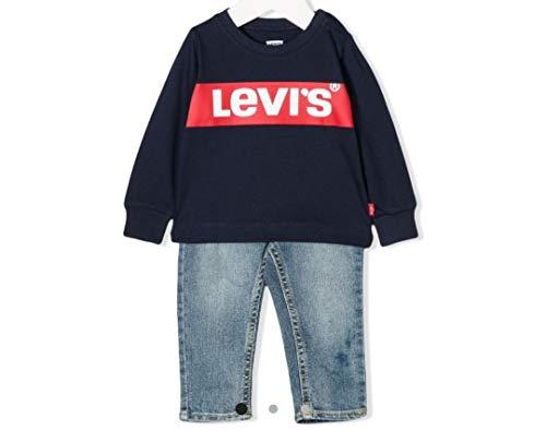Levi's 2 stuks T-HIRT1 MES lange mouwen en jeans, dress blue, 12 maanden