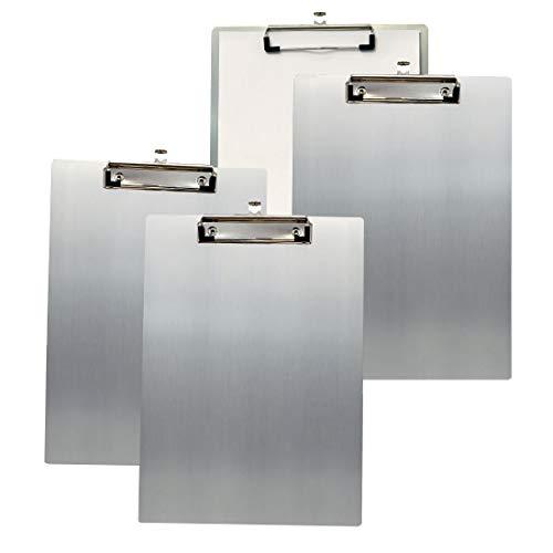 4x TUKA A5 Portapapeles de Aluminio con Pinza, Abrazadera de metal Recubierto de Goma, Tablilla con Sujetapapeles, Gran Resistencia, Aluminio de Alta Calidad. Juego de 4, Color Gris TKD8045-grey-4x