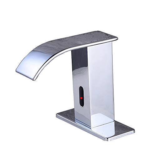 Gangang Automatic Faucet Square Body Touchless Sensor Waterfall Bathroom Sink Vessel Faucet (Chrome A)