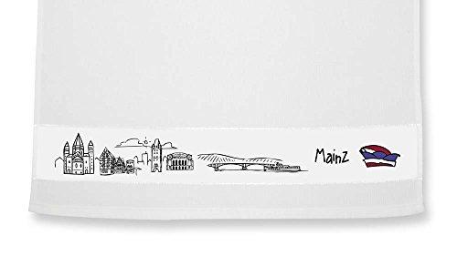 die stadtmeister Geschirrtuch Skyline Mainz - als Geschenk für Meenzer & Fans der Domstadt oder als Mainz Souvenir