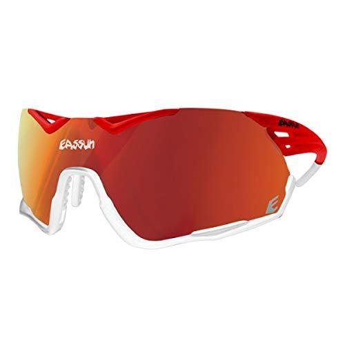 eassun Challenge Gafas, Color Lente-Plateada, Color Montura-Rosa y Blanco, Medio Unisex Adulto
