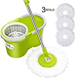 HomeHelper Deluxe Microfiber Spin Mop,Bucket Floor Cleaning System-With 2 Microfiber Mop Heads-1-Year Guarantee For Stainless Steel Mop Handle
