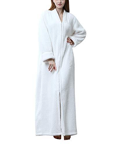 Albornoz para Hombre Y Mujer Largo Suave Y Ligero De Coral Camisón Pijama Cremallera para SPA Hotel Sauna Hembra Blanco M