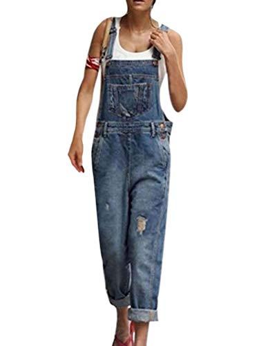 ORANDESIGNE Salopette Donna Jeans alla Moda, Salopette retrò con Risvolto in Denim Blu Scuro IT 40