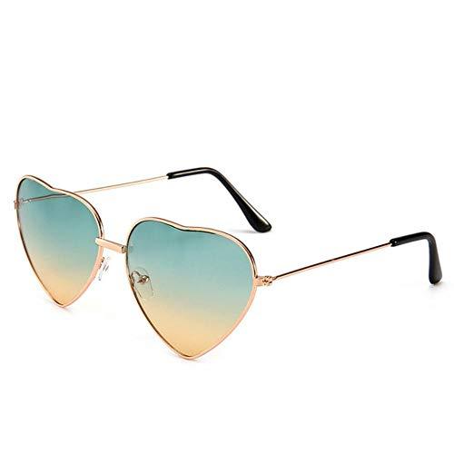 XCVB Dames Candy Gradient Zonnebril Outdoorbril Feest Retro Hartvormige Zonnebril, Groene thee