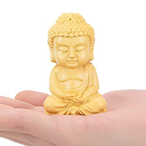 EBISSY Hand Carved Small Cute Sitting Buddha Statue Wood [ Palm Size Home Decor ] (Sitting Buddha)