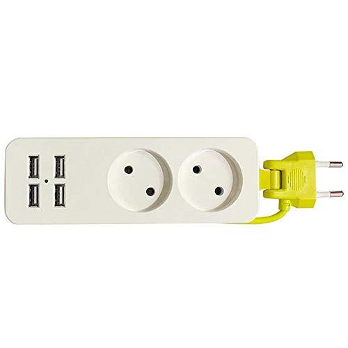 MUZIM Enchufe de la UE 4 USB con Enchufe de Cable 2 Puerto de CA Tablero de conexión Enchufe Redondo multifunción Enchufe estándar Europeo-Enchufe de la UE