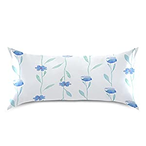 """ATTX Watercolor Flowers and Leaves Spring Summer Pillowcase with Envelope Closure for Hair and Skin, Soft Breathable Smooth Both Sided Cooling Silk Pillow Cover(King 20""""×40"""",1Pcs)"""