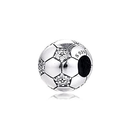 LIIHVYI Pandora Charms para Mujeres Cuentas Plata De Ley 925 Fútbol Espumoso De Primavera Compatible con Pulseras Europeos Collars