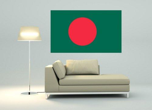 Kiwistar Wandtattoo Sticker Fahne Flagge Aufkleber Bangladesch 80 x 48cm