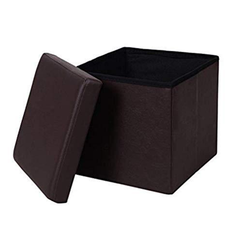 Ducomi Puf plegable cubo reposapiés, contenedor, baúl, contenedor para juegos, sillón contenedor para salón, diseño italiano (Leather, Brown)