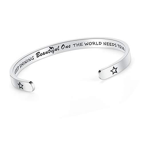 SAM & LORI Inspirational Cuff Bracelet Bangle Keep Going Motivational Mantra Quote Stainless Steel Engraved Best Friend Sister Gift for Women Teen Girls with Hidden Message