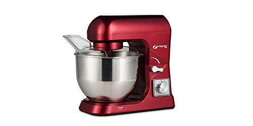 MAGNANI Robot de Cocina Rojo 1000W, Robot de Cocina batidora 5L, Batidora Multifuncional con 3 Accesorios y Tapa, Batidora para Montar Huevos, amasar, Mezclar