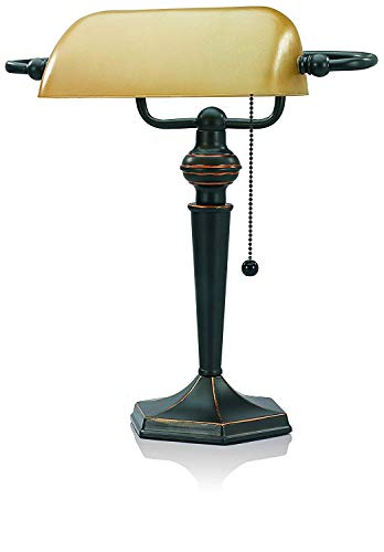 V-Light CFL Traditional Style Banker's Desk Lamp with Amber Glass Shade (VS91045BRZR), Antique Bronze
