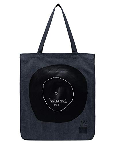 Herschel Jean-Michel Basquiat Now Is The Time Women Totebag Black 100% Enzyme Washed Cotton Canvas Cotton Webbing Carry Handles Internal Hanging Storage Pocket Tonal Classic Woven Label Embroidered