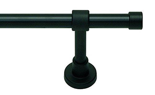 myraumdesign Gardinenstange Vorhangstange schwarz Kappe mit Metallrohr 20 mm Durchmesser (320 cm (2X 160 cm))