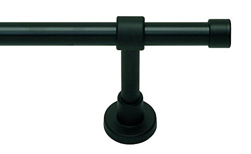 myraumdesign Gardinenstange Vorhangstange schwarz Kappe mit Metallrohr 20 mm Durchmesser (140 cm)