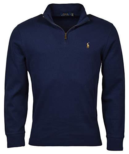 POLO RALPH LAUREN Mens Half Zip French Rib Cotton Sweater (M, NavySigPony)