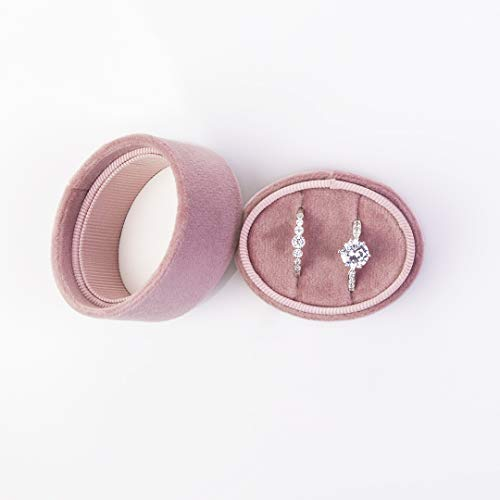 Koyal Wholesale Double Oval Velvet Ring Box, Dusty Rose Wedding Ceremony Ring Box with Detachable Lid, 2 Piece Engagement Ring Box Holder, Proposal Idea, Slim Ring Box with Cushion