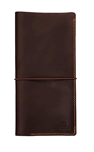 Genuines Long Leather Travel Wallet – Boarding Pass Passport Holder with Strap