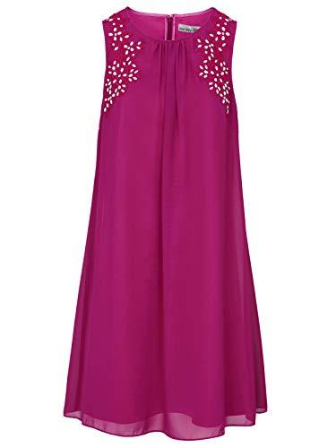 Ashley Brooke Kleid Cocktail-Kleid ärmelloses Damen Abend-Kleid mit Stickerei Party-Kleid Ausgeh-Kleid Violett, Größe:44