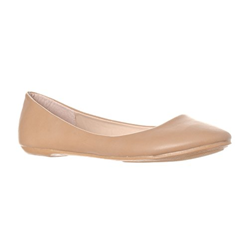 Riverberry Women's Aria Closed, Round Toe Ballet Flat Slip On Shoes, Taupe PU, 6.5