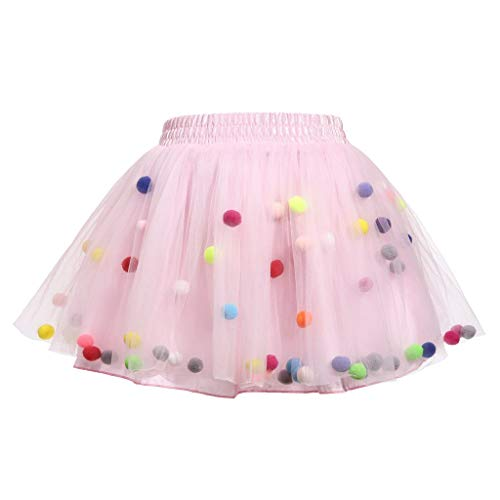 Meeyou Little Girls 3 Layers Tutu Skirt with 3D Pom Pom Puff Balls