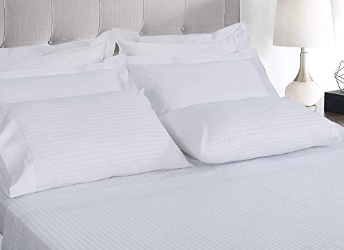 Soft Sleep Hotel Quality 510 THREAD COUNT 100% Pima Cotton Stripe Duvet Cover Set With Pillowcases (White, Double Duvet Cover Set)