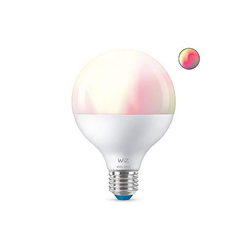 WiZ - Lampadina smart a globo G.E27 LED colorata e regolazione luminosità luce bianca calda e fredda 1055 lm 2200-6500 K, accensione Wi-Fi app Alexa Siri GoogleAssistant