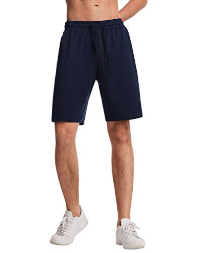THE GYM PEOPLE Men's Lounge Shorts with Deep Pockets Loose-fit Cotton Jersey Shorts for Running,Workout,Training, Basketball (605 Blue, X-Large)
