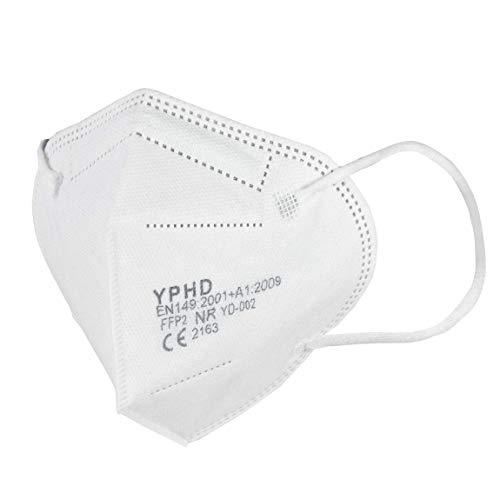 YPHD FFP2 Maske 20 Stück Atemschutzmaske Staubmaske Atemmaske |CE zertifiziert | einzeln verpackte Masken Mundschutz FFP2 | Schutzmaske ohne Ventil | Einmalmasken mit hohem Tragekomfort