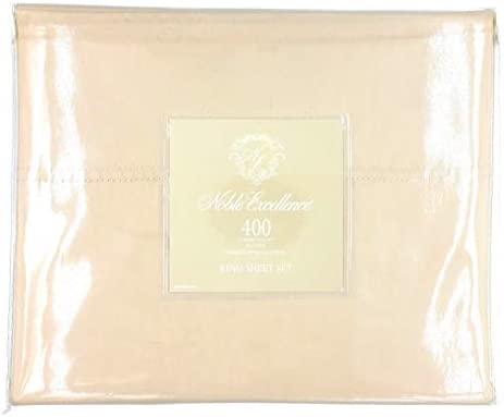 Noble Excellence 400-Thread-Count Sateen Egyptian Cotton King Sheet Set (Color- Cashmere/Tan)