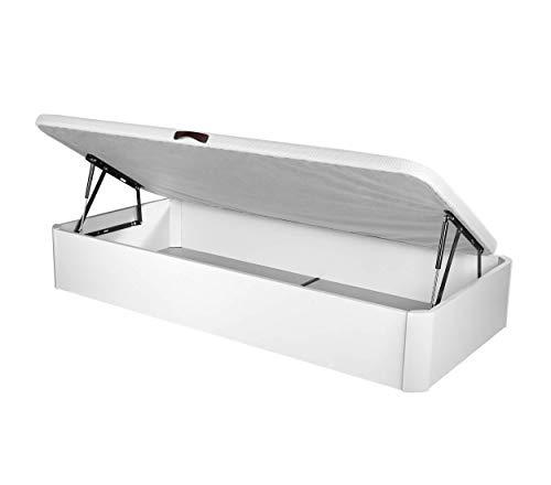 DHOME Canape Abatible Tapizado 3D Blanco con Apertura Normal o Lateral Esquinas MACIZAS de Haya y 29cm de capapacidad canapé Madera (105x200 22mm Ap. Lateral)