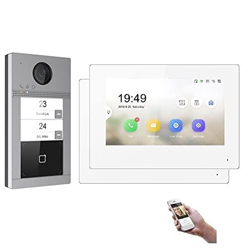 WLAN 2 Familienhaus IP Video Türsprechanlage, Unterputz-Türstation IP65, 7 Zoll Monitor, HD-Kamera 170°, Foto-/Video-Speicher, PoE-Switch, Farbe: 2x7'' Monitor