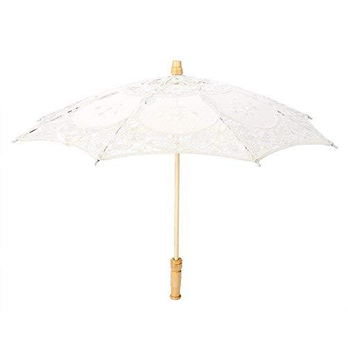 Fdit Sombrilla hecha a mano con encaje, bordado floral, para bodas, novia, fotografía, paraguas de seda, beige, pequeño