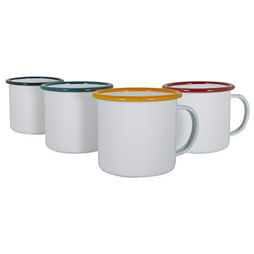 Argon Tableware Weiße Emaille-Espressotassen - Stahl Outdoor-Camping-Tee-Kaffeetasse - 130ml - 4 Farben