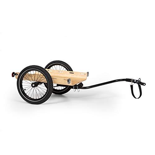 """KLAR FIT Companion Travel - Remorque pour vélo, Grand Volume de Chargement, 50 litres, Charge Max. de 40kg, Timon pivotant, Chariot Manuel, Pneus de 16"""", Cadre en Acier, Goupilles de sécurité, Bois"""