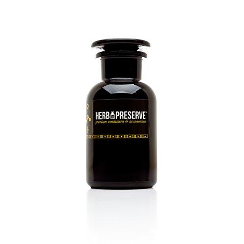 Herb Preserve Capacity Apothecary Jar Ultraviolet All Glass Refillable Stash.5 oz. (250ml), Black